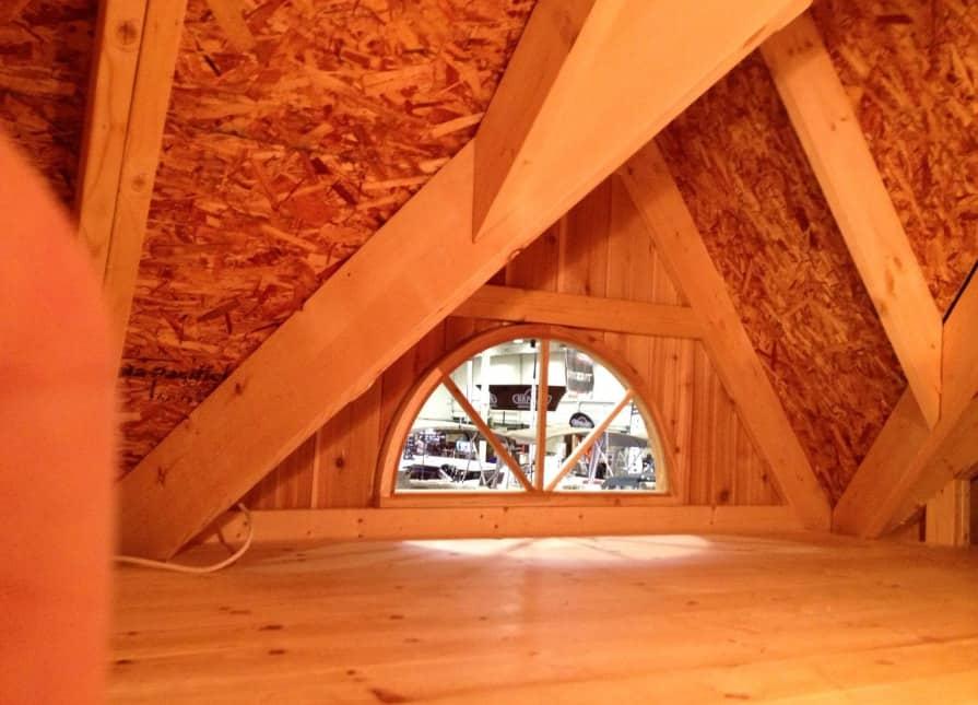 Half-storey loft space, large enough for a queen size mattress!