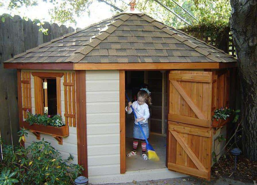 8ft Petite Pentagon Playhouse Cleaing - Summerwood Products
